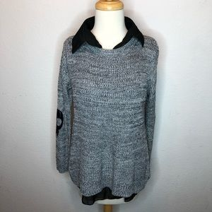 2 piece sweater and undershirt w/ elbow patches